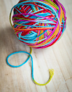 Colourful ball of knitting yarn