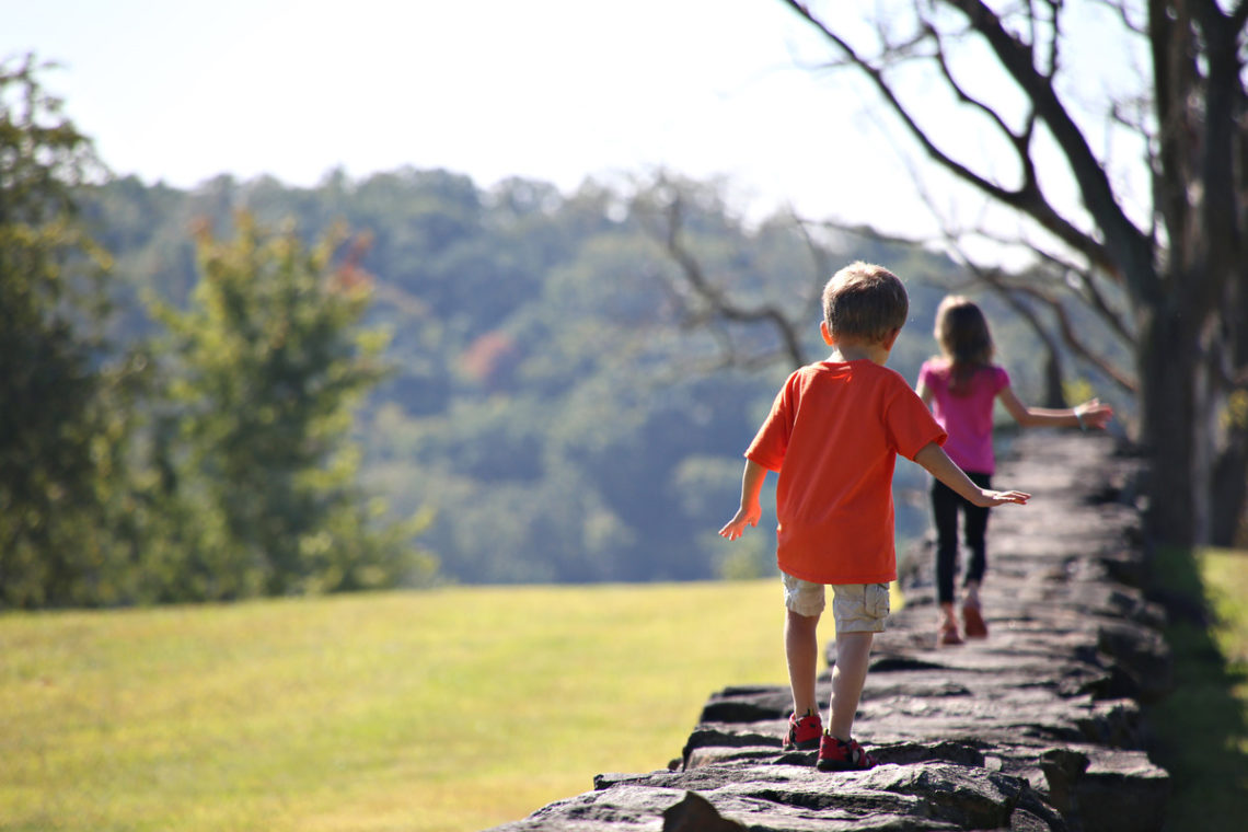Image of children walking on stone wall
