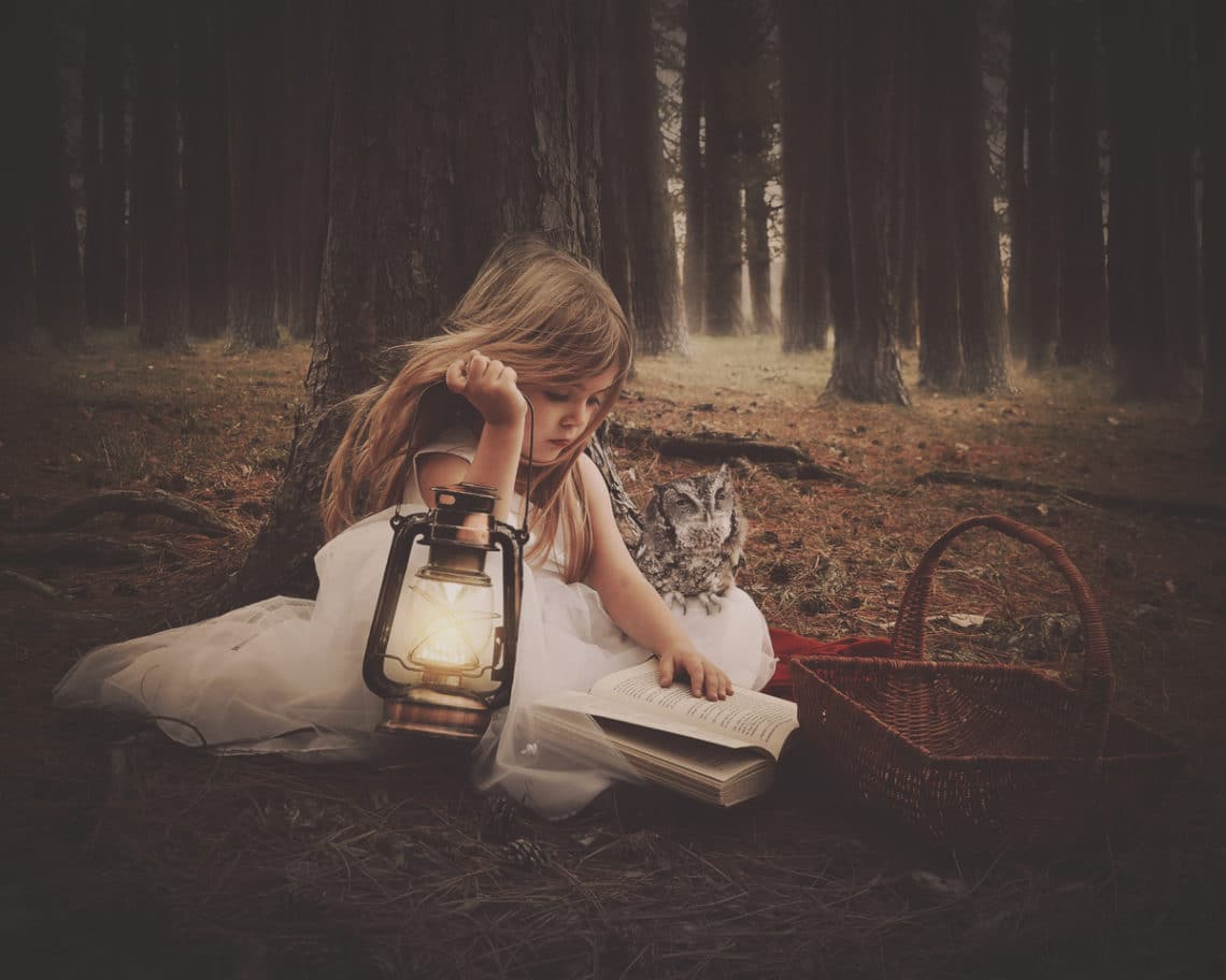 Little girl in forest with lantern, book and owl