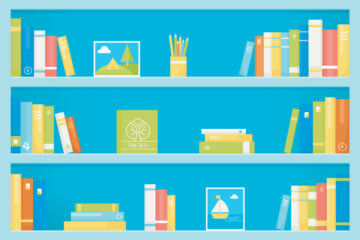 Graphic image of bookshelves with books
